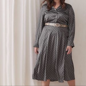 Additionelle Gray polka dotted long dress size 24